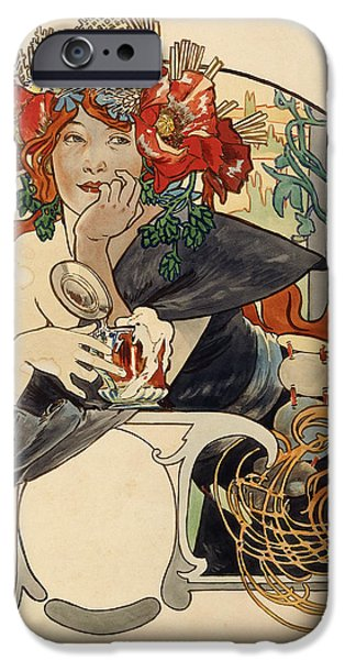 Tankard iPhone Cases - Biere De La Meuse,  Polychrome Gouache On Buffed Paper iPhone Case by Alphonse Marie Mucha