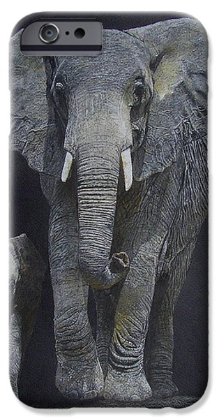 Elephants Pastels iPhone Cases - Big and Small iPhone Case by Margaret Riley