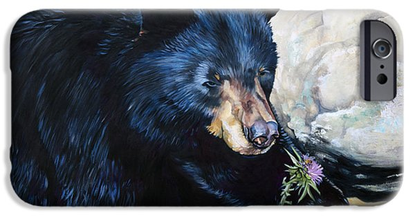 Black Bear iPhone Cases - Big B and little bee iPhone Case by J W Baker