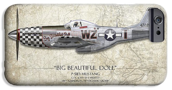P-51 Mustang iPhone Cases - Big Beautiful Doll P-51D Mustang - Map Background iPhone Case by Craig Tinder