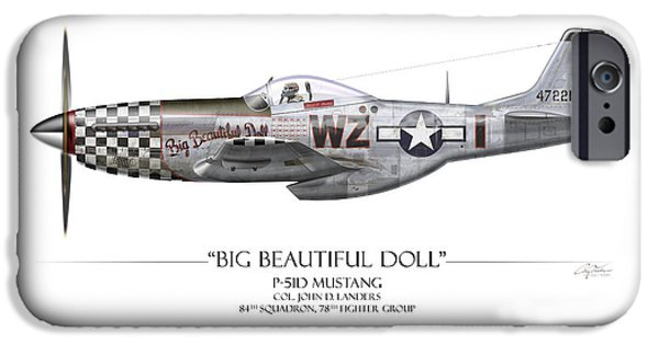 P-51 iPhone Cases - Big Beautiful Doll P-51D Mustang - White Background iPhone Case by Craig Tinder