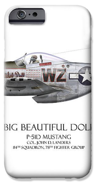 Big Beautiful Doll P-51D Mustang - White Background iPhone Case by Craig Tinder