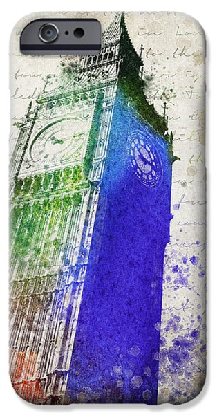 Big Mixed Media iPhone Cases - Big Ben iPhone Case by Aged Pixel