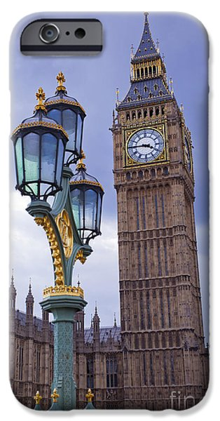 Houses Of Parliament iPhone Cases - Big Ben and Lampost iPhone Case by MGL Meiklejohn Graphics Licensing