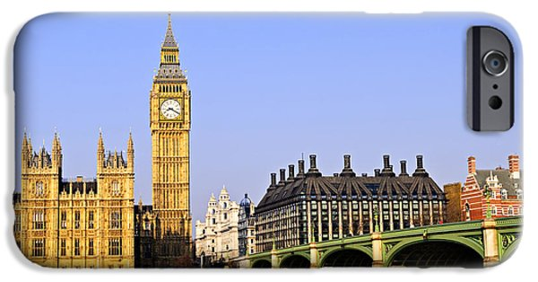 Landmarks Photographs iPhone Cases - Big Ben and Westminster bridge iPhone Case by Elena Elisseeva