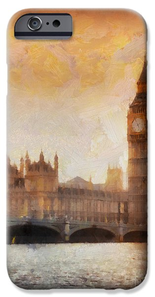 Vacation Digital iPhone Cases - Big Ben at dusk iPhone Case by Pixel Chimp