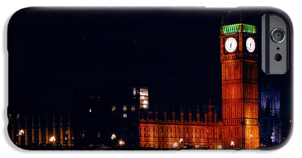 Night Light iPhone Cases - Big ben at night iPhone Case by Gina Dsgn