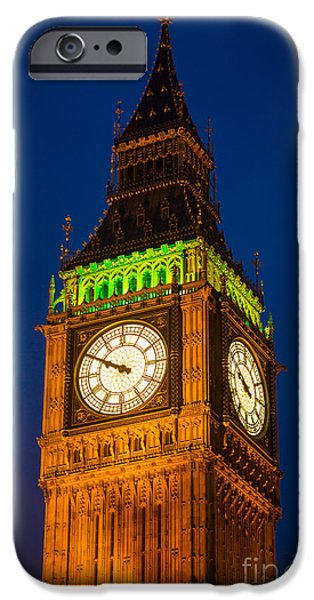Night Lamp iPhone Cases - Big Ben at Night iPhone Case by Inge Johnsson