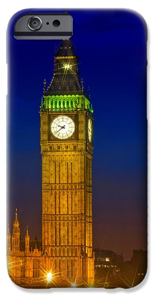 Facade Digital iPhone Cases - Big Ben by Night iPhone Case by Melanie Viola