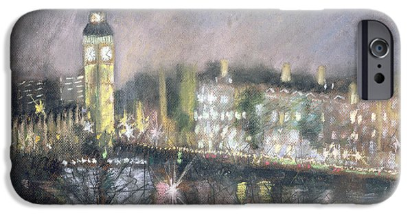 Winter iPhone Cases - Big Ben, From The South Bank, 1995 Pastel On Paper iPhone Case by Sophia Elliot