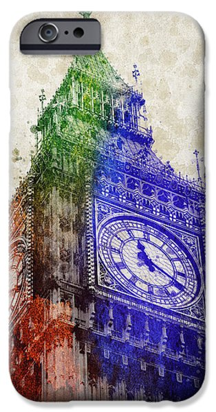Big Mixed Media iPhone Cases - Big Ben London iPhone Case by Aged Pixel