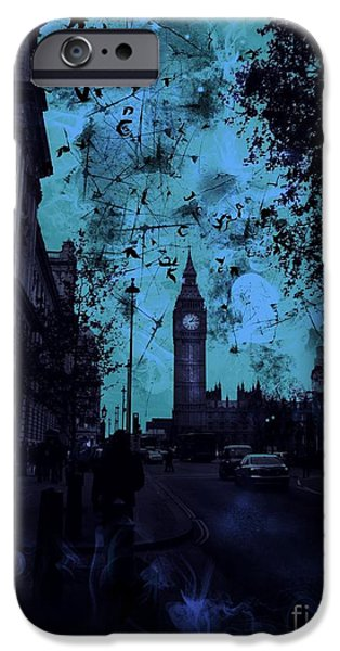 Old Cars iPhone Cases - Big Ben Street iPhone Case by Marina McLain
