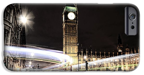 Houses Of Parliament iPhone Cases - Big Ben with Light Trails iPhone Case by Jasna Buncic