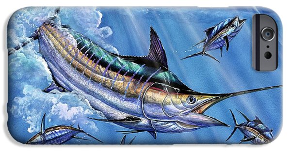 Marlin Azul iPhone Cases - Big Blue And Tuna iPhone Case by Terry Fox