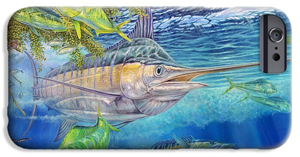 Marlin Azul iPhone Cases - Big Blue Hunting In The Weeds iPhone Case by Terry  Fox