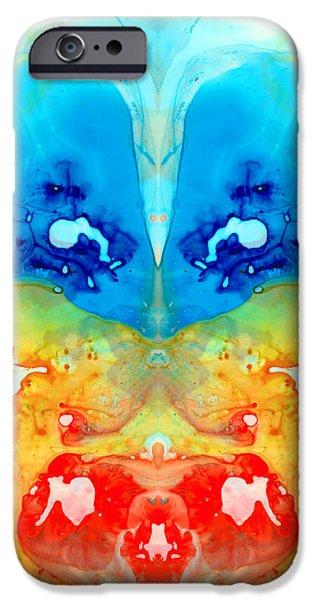 Vision Paintings iPhone Cases - Big Blue Love - Visionary Art By Sharon Cummings iPhone Case by Sharon Cummings