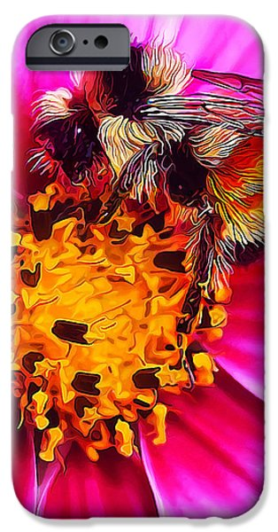 Fuzzy Digital iPhone Cases - Big Bumble on Pink iPhone Case by Bill Caldwell -        ABeautifulSky Photography