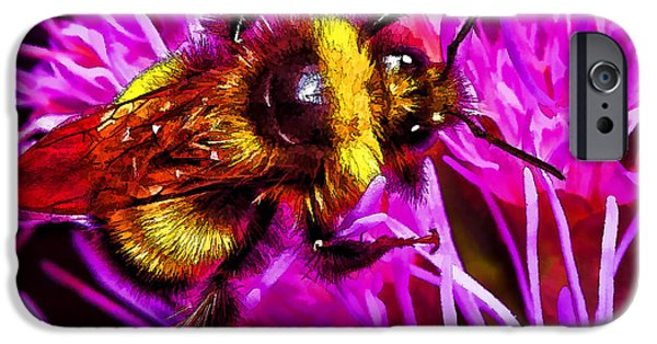 Floral Digital Art Digital Art iPhone Cases - Big Busy Bumble iPhone Case by Bill Caldwell -        ABeautifulSky Photography