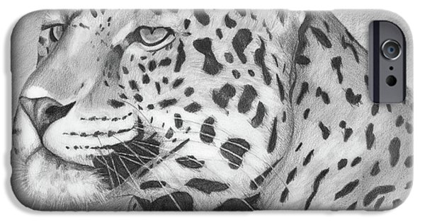 Animal Drawings iPhone Cases - Big Cat iPhone Case by Lena Auxier