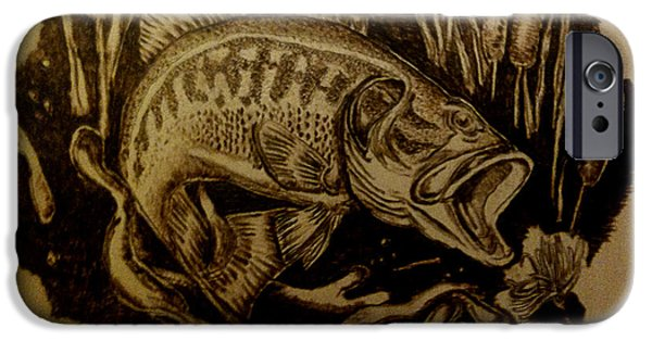 Fish Pyrography iPhone Cases - Big Catch iPhone Case by Dale Bradley