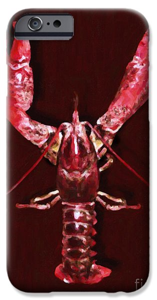 Crawfish iPhone Cases - Big Claw Lobster - Painterly iPhone Case by Wingsdomain Art and Photography