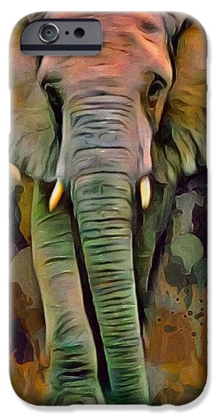 Digital Designs iPhone Cases - Big Ear Elephant  iPhone Case by Scott Wallace