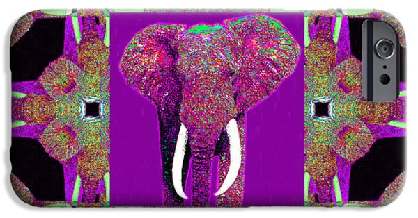 Elephant iPhone Cases - Big Elephant Abstract Window 20130201m68 iPhone Case by Wingsdomain Art and Photography
