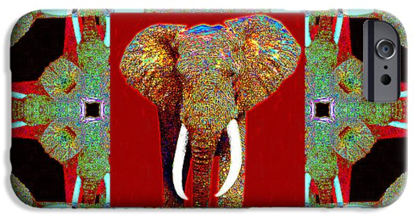 Elephant iPhone Cases - Big Elephant Abstract Window 20130201p0 iPhone Case by Wingsdomain Art and Photography