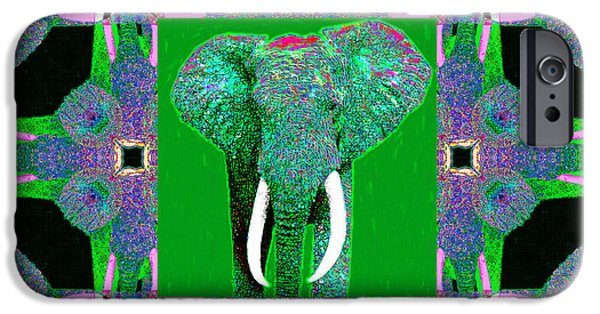 Elephant iPhone Cases - Big Elephant Abstract Window 20130201p128 iPhone Case by Wingsdomain Art and Photography