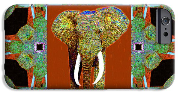 Elephant iPhone Cases - Big Elephant Abstract Window 20130201p20 iPhone Case by Wingsdomain Art and Photography