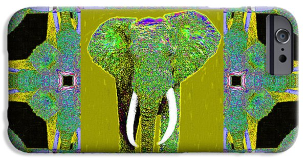Elephant iPhone Cases - Big Elephant Abstract Window 20130201p60 iPhone Case by Wingsdomain Art and Photography