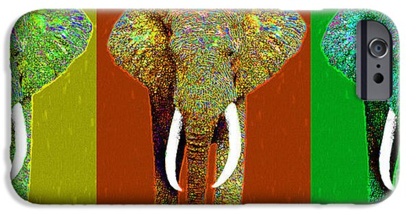 Elephant iPhone Cases - Big Elephant Three 20130201v1 iPhone Case by Wingsdomain Art and Photography