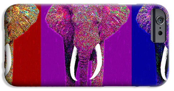 Elephant iPhone Cases - Big Elephant Three 20130201v2 iPhone Case by Wingsdomain Art and Photography