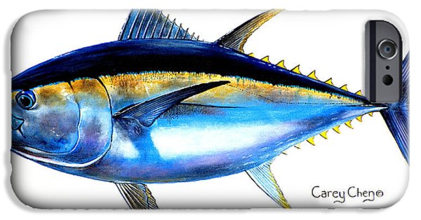 Nature Study Paintings iPhone Cases - Big Eye Tuna iPhone Case by Carey Chen