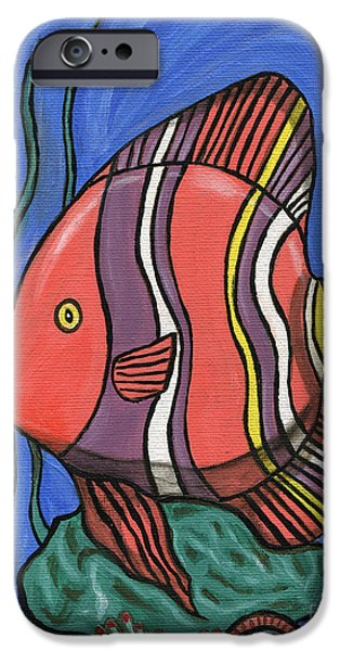 Alga Paintings iPhone Cases - Big Fish iPhone Case by Roz Abellera Art