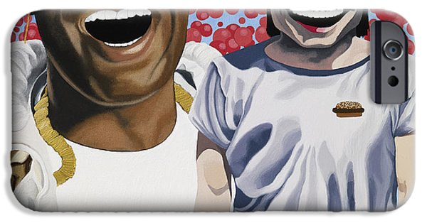 Red Balloons iPhone Cases - Big Freedia and Yue Minjun iPhone Case by Marcella Lassen