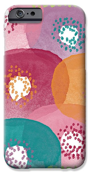 Big Garden Blooms- abstract florwer art iPhone Case by Linda Woods