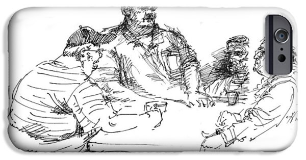 Sketch iPhone Cases - Big Guys And A Little Guy iPhone Case by Ylli Haruni