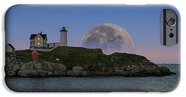 Cape Neddick Lighthouse Digital Art iPhone Cases - Big moon over Nubble Lighthouse iPhone Case by Jeff Folger