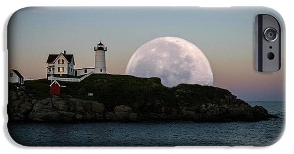 Nubble Lighthouse iPhone Cases - Big moon rise iPhone Case by Jeff Folger