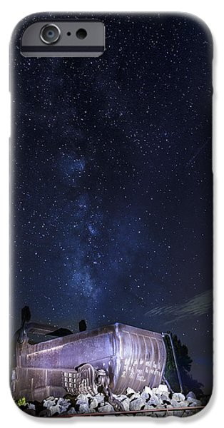 Muskie iPhone Cases - Big Muskie Bucket Milky Way and a shooting star iPhone Case by Jack R Perry