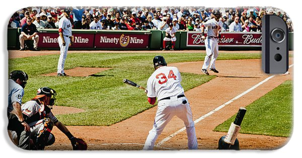 Recently Sold -  - Fenway Park iPhone Cases - Big Papi Taking a swing iPhone Case by Dennis Coates