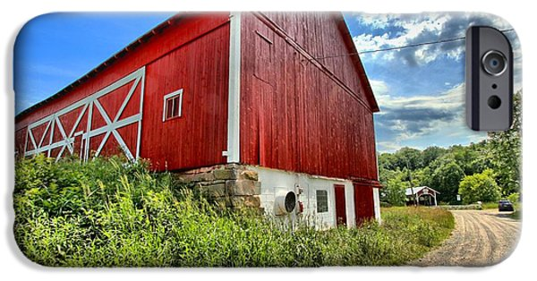 Covered Bridge iPhone Cases - Big Red Barn iPhone Case by Adam Jewell