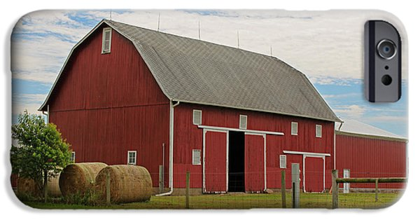Barn Poster Photographs iPhone Cases - Big Red Barn II - Carroll County Indiana iPhone Case by Suzanne Gaff