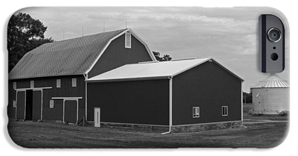 Barn Poster Photographs iPhone Cases - Big Red Barn in Black and White iPhone Case by Suzanne Gaff