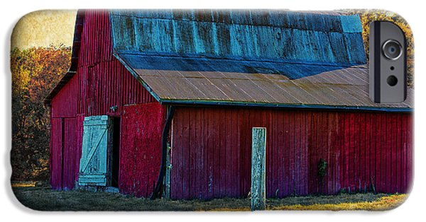 Old Barns iPhone Cases - Big Red iPhone Case by Bill Tiepelman