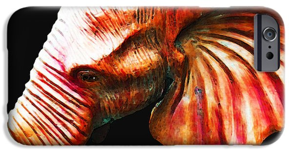 Big Al iPhone Cases - Big Red - Elephant Art Painting iPhone Case by Sharon Cummings