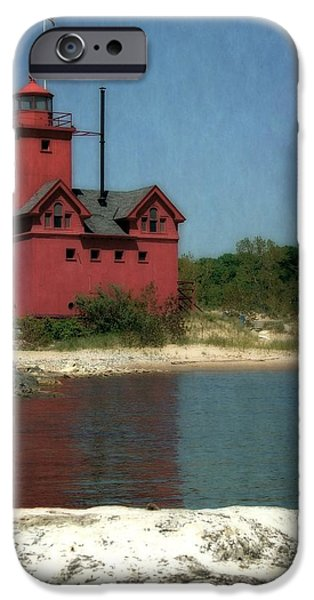 Michelle iPhone Cases - Big Red Holland Michigan Lighthouse iPhone Case by Michelle Calkins
