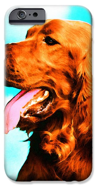 Dog Mixed Media iPhone Cases - Big Red - Irish Setter Dog Art By Sharon Cummings iPhone Case by Sharon Cummings