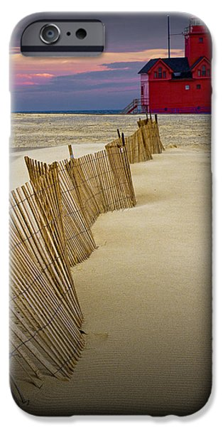 Sand Fences iPhone Cases - Big Red Lighthouse with sand fence at Ottawa Beach iPhone Case by Randall Nyhof